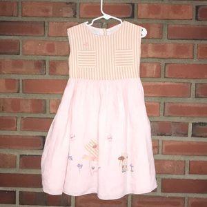 Baby graziella linen pink & cream stripe 4T dress